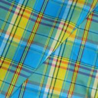 Veritable Tissu Madras 100% Coton,turquoise-jaune-rouge, Coupon à la Mesure