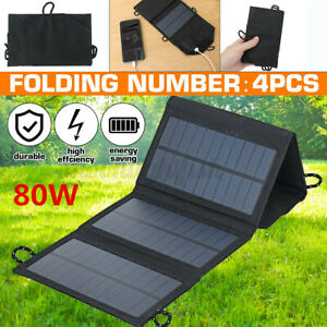 80W USB Solar Panel Folding Portable Power Charger Camping Travel Phone Charger