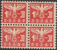 Stamp Germany Revenue Block WWII Fascism War Era Party Dues 0150 MNH