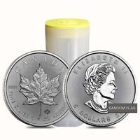 Roll of 25 - 1 oz Silver Canadian Maple Leaf BU (Random Year)