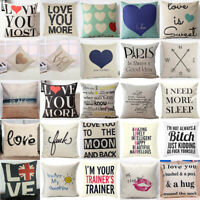 Funny Letter Pillow Case Cotton Linen Sofa Throw Cushion Cover Home Decor 18inch