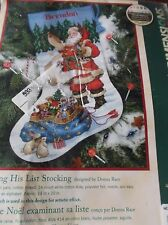 "DIMENSIONS CROSS STITCH 16"" CHRISTMAS STOCKING KIT CHECKING HIS LIST SANTA GIFTS"