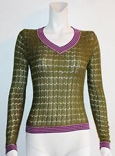 MISSONI for Target Green Stretch Cable V-Neck Breathable Knit Top Size Medium