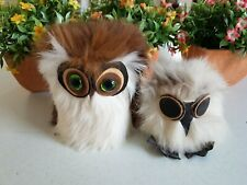 Vintage Owl Decoration Ornament Decor Figure Figure Furry 3 &4 Inch Lot Poland