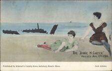 Bathing Girls on Beach - Ship Wrecked The Jennie M. Carter Postcard c1910