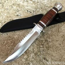 """10.5"""" Stainless Steel Survival Skinning Hunting Knife Wood Handle Bowie -F"""
