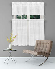 White 3 Pc Curtain Set: Cafe Tier Embroidered Metallic FloralValanceTiers 36L