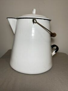 """Vintage Large White Enamel Metal Kettle Coffee Camping Pot 13"""""""
