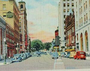 1930s Park Avenue Public Square Mansfield Ohio Linen Cars Signs Drugs Bank Hotel