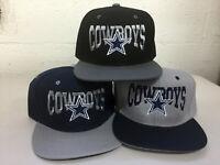 Dallas Cowboys Writing Snap Back Cap Hat DAL Embroidered Adjustable Flat Bill