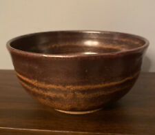 """5.75"""" Brown Pottery Bowl Signed"""