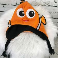 Disney Pixar Finding Neno Unisex Kids One Sz Hat Orange Trapper Winter Knit Hat