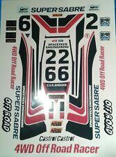 SUPER SABRE CUSTOM TAMIYA HPI LOSI RC 1/10th Vintage Pegatinas Calcomanías extra PLUS