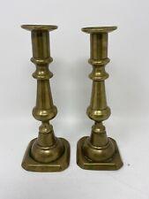 "Pair Primitive Antique 1800's Brass Push Up Candlesticks 8 3/4"" Tall"