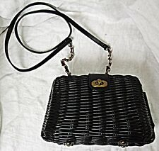 ATMOSPHERE RETRO  60S STYLE SMALL LUCITE BASKET WEAVE SHOULDER BAG SIMPLE CHIC
