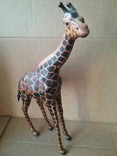 Vintage Leather Bound African Safari Giraffe-18 Inches High