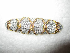Swarovski Gold Plated Pave Crystal Bar Pin Swan Signed Twist Rope -Mint!