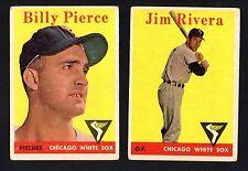 2 WHITE SOX LOT 1958 TOPPS #11 JIM RIVERA #50 BILLY PIERCE VG NO CREASES