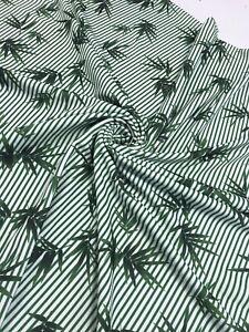 2 Metres Green Stripe Leaf Print Liverpool Stretch Fabric