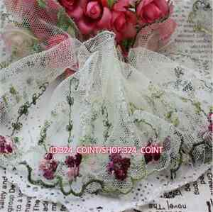 1 Yard,Tulle Lace Trim Ribbon Coloured floral Embroidered Crafts Sewing DIY H176