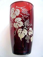 Anchor Hocking Royal Ruby Tumbler With White Grape Vine Pattern
