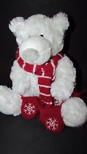 Lindt Lindor Chocolates brand plush polar bear red striped scarf mittens