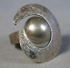Finish Ring Size 6.5 #J2382 Vintage 950 Silver Modernist Hammered