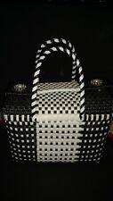 Black And White Plastic Woven Mexican Purse, tote bag, small, beach purse.