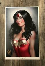 YOUNG WONDER WOMAN PRINT SIGNED BY WARREN LOUW ART LITHOGRAPH DC JUSTICE LEAGUE