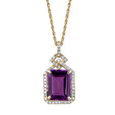 Yellow Gold Genuine Emerald-cut Amethyst and 1/4ct Diamond Halo Necklace