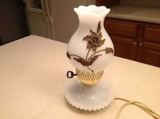 Vintage Milk Glass Lamp with Shade Works!!! Very Nice  Will Need a Bulb