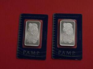 2 Lot Pamp Suisse Lady Fortuna 1 Oz Each .999 Silver Bullion Bar C056469 C056470