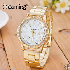 Men Women Gold Geneva Stainless Steel Quartz Watch Military Crystal Casual Watch