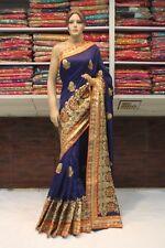Bollywood Indian Ethnic Tusser Silk Heavy Skirt Saree Sari Bridal Party Dress