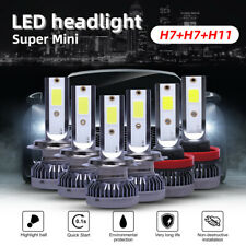 H7+H7+H11 Combo Mini LED Headlight Bulb Hi/Lo Beam Fog Light 90000LM 6000K Lamp