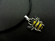 "A LADIES BLACK LEATHER CORD 13 - 14"" CHOKER WITH HONEY BEE CHARM NECKLACE ."