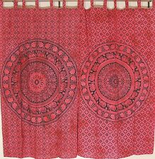"Red Elephant Mandala 2 Tab Top Window Curtain Panels Cotton Indian Print 82"""