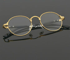 Retro Oval Gold Man Women Full Eyeglasses Frames Plain Glasses Clear Spectacle A
