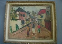 Vintage French Impressionist Painting on Board Paris Street Scene Signed