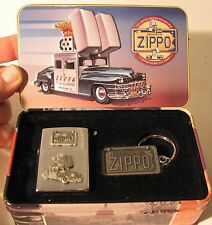 1998 Collectors Car ZIPPO Lighter with Key Chain in TIN Storage Box Bradford