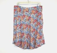 Emaline Women's 12 - Multi-Color Garden Floral Print Lined Chiffon A-Line Skirt