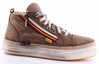 Scarpe Sneakers Alte Uomo CHANGE! KeysM Miracle Taupe Pelle Made In Italy