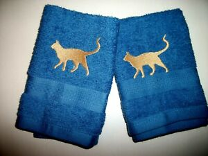 CAT EMBROIDERED DESIGN, BLUE FACE CLOTHS, 2 PC SET,  BENEFITS Pets in need