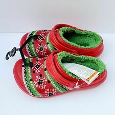 Crocs Classic Printed Lined Clog 205815-6EN Size C13 Red Green Christmas