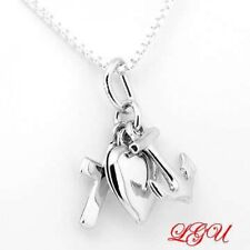 SILVER FAITH HOPE CHARITY, CHRISTIAN CROSS HEART ANCHOR