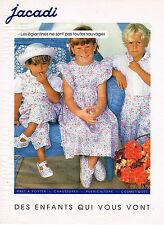 PUBLICITE ADVERTISING  1992    JACADI   pret à porter enfant