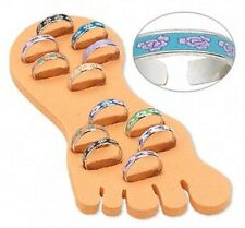 Toe Rings Silver Flower Design Adjustable Display Foot Lot of 12