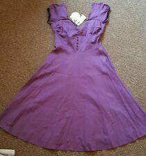 Lindy Bop Robe Rockabilly Violet Neuf Taille 10
