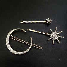 Hair Clip Crystal Rhinestone Moon Star Hair Pin Barrette Hairpin Accessories New