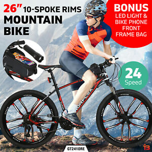 """Norflex 26"""" Mountain Bike Suspensions Bicycle 24 Speed Black and Red"""